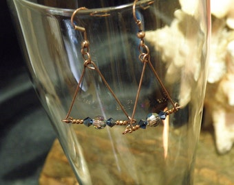 Swarovski Crystal and Antique Brass Earrings