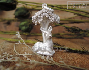 MW P1007 The 925 Silver Deer under the Tree Pendant
