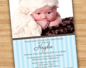 DIY Print Baby Boy Baptism/Christening/Naming Day Invitations/Invites
