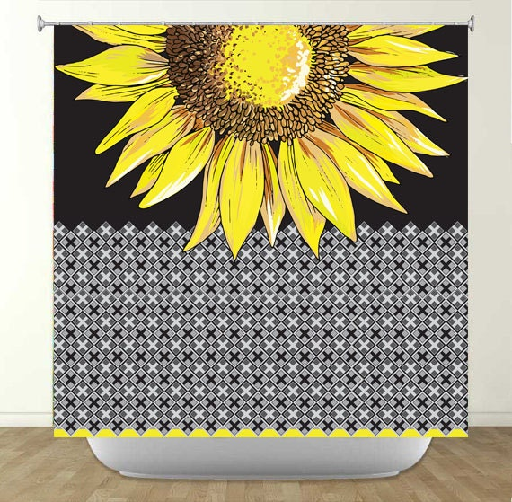 items similar to bright yellow sunflower shower curtain on. Black Bedroom Furniture Sets. Home Design Ideas