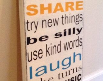 Playroom Rules sign - wood wall art