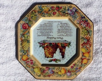 1982 Vintage Collectible Plum Pudding Recipe Plate by Avon