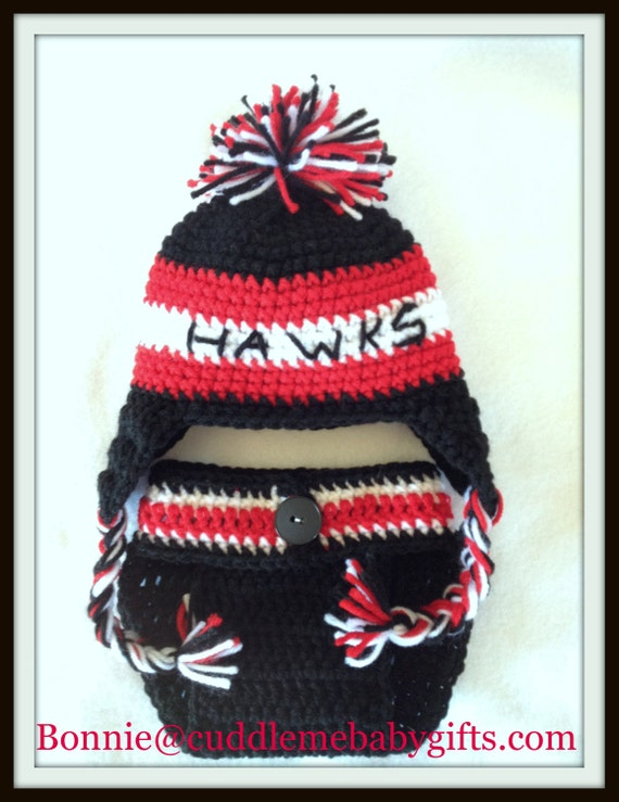 Baby Shower Gift Chicago Hockey Black hawks Baby Shower Baby Crochet Hat & Diaper Cover  Baby Photo Prop Hat Blackhawks Hockey