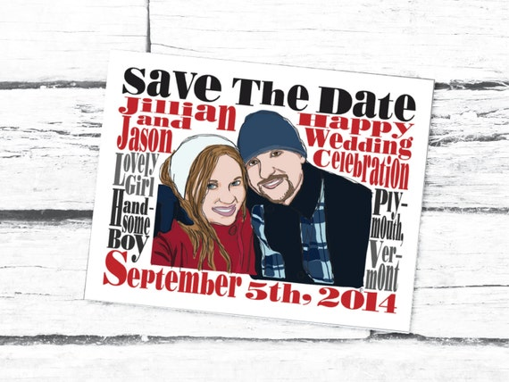Save The Date Custom Portrait Printable Wedding Card Couple