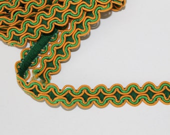 Vintage Braid Trim Green and Yellow, 2 1/3 yards, T109