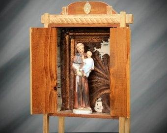 St Anthony and Child Shrine, Assemblage Art, Mixed Media, upcycled Nicho