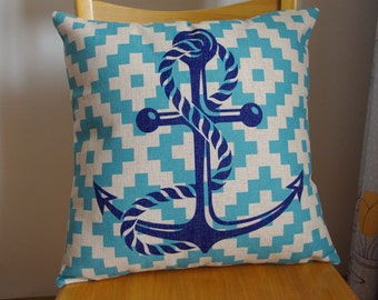 Nautical anchor pillow cover, Navy blue anchor pillow cover