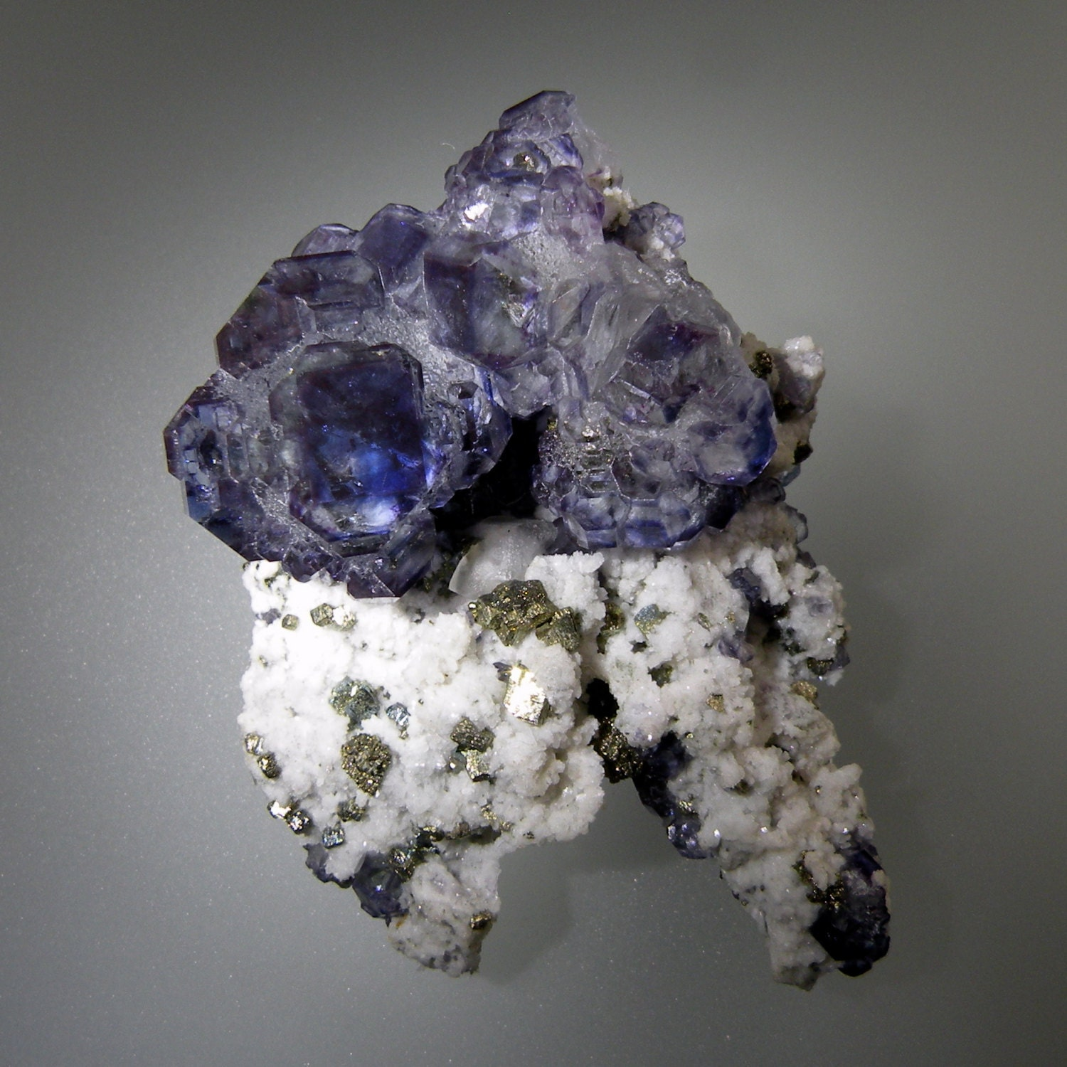 Fluorite Crystals with Pyrite on Calcite 100% by ...