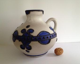Marei Keramik 4302 blue / white vase , decor : Brugge from the 1970s West Germany. WGP.