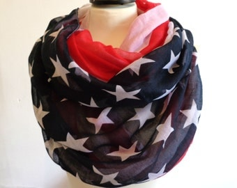 Infinity Scarf, American Flag Scarf Infinity, Infinity Scarves, Women Scarf, Loop Scarf Woman, Infinity Loop Scarf, Infinity Scarf Woman