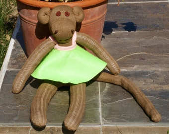 Light Brown Sock Monkey with Pink and Green Dress