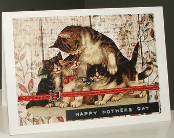 handmade vintage cats  Mothers Day card