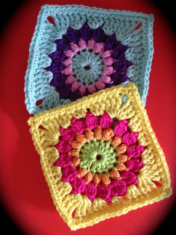 Crochet pattern sunburst granny square pdf file
