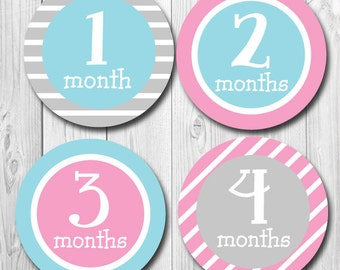 Girl Monthly Stickers, Month Stickers Baby, Pastel Colors, Baby Gift, Milestone Stickers, Monthly Baby Stickers, New Baby Gift