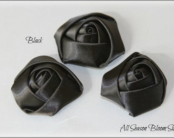 """Set of 3 Satin Rolled Rosettes, Rose Flowers, Satin Rose, Hair Accessories 1.8""""-2"""" Flowers, Black Rosettes"""