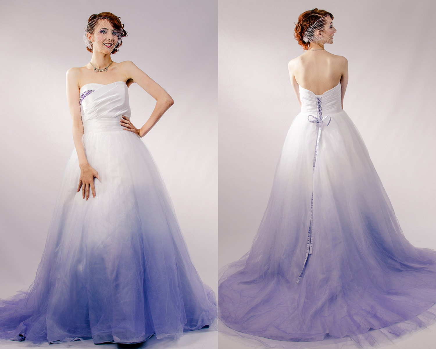 Dip dyed wedding dress purple ombre wedding dress couture for Wedding dresses with purple trim