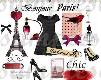 Digital collage sheet, Digital Kit Paris -Digital Altered Art - Over 40 Elements Jpeg files- Paris, Eiffel Tower, french script