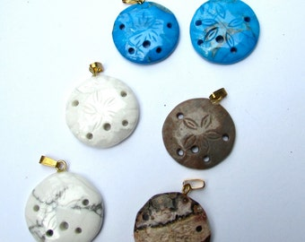 Lot of Assorted Genuine Gemstone Sand Dollar Pendants