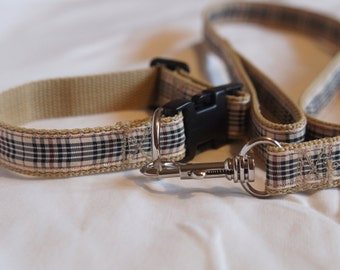 Matching collar & lead set - Blackberry check - Fleece lined collar