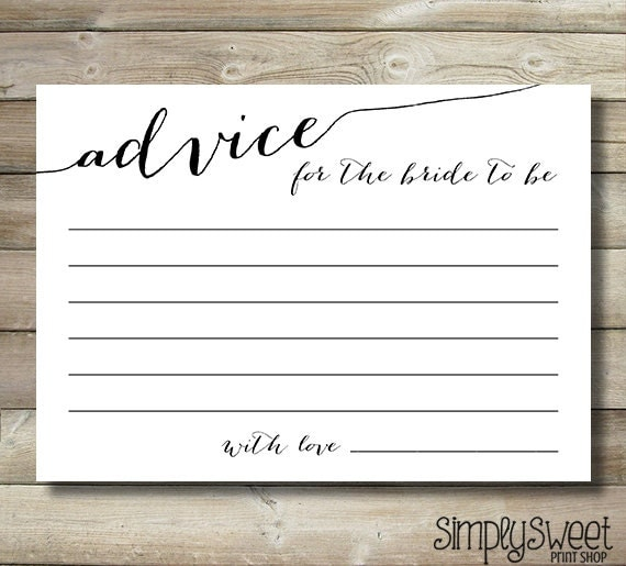 Bridal shower advice cards for the bride by for Bridal shower advice cards template