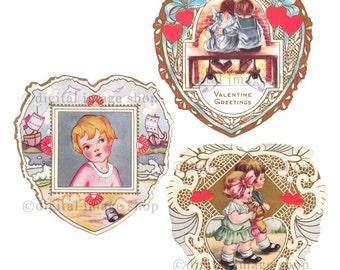 Printable Valentine Cards, Set of Three Vintage Digital Heart Valentines, Valentines Clipart Instant Download VT-1