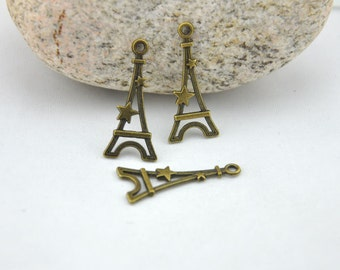 Eiffel Tower Charms -30pcs Antique Bronze Paris Eiffel Tower Charm Pendants -13x29mm --G196