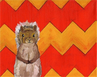 Yellow and Orange Chevron Squirrel (ORIGINAL DIGITAL DOWNLOAD) by Mike Kraus