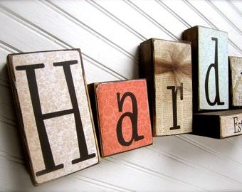 Customized Family Name Blocks - Established Blocks Wood Family Home Wedding Gift