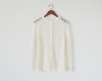 Vintage crochet cardigan / sweater cardigan / ivory cardigan