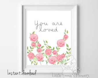Playroom wall art Nursery decor You are loved print printable love art Nursery wall print  kids wall art inspirational quote love new1-103