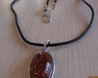 Sterling Silver and Amber Pendant on Cord Necklace