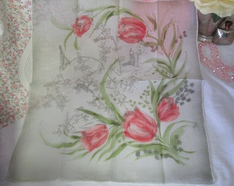 Stunning hand rolled cotton hankie Spain Tulips and Birds Handkerchief