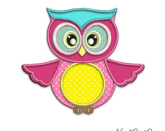 Pink Owl applique design - Cute embroidery machine pattern Instant download fire by NestGiftCo - 031