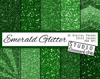 Emerald Green Glitter Digital Paper - Green Sparkle Chunky Glitter Chevron - Metallic Shine - 10 Papers - 12in x 12in - Instant Download