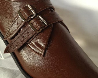 2 Strap Winklepicker Shoe in Brown Leather