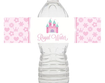 Princess Water Bottle Wrapper, Princess Birthday Water Bottle, Princess Water Wrapper, Princess Birthday Party Decorations