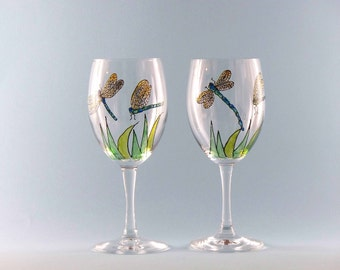 Hand Painted Dragonfly Wine Glasses - Painted Dragonfly Wine Glasses - Set of Two