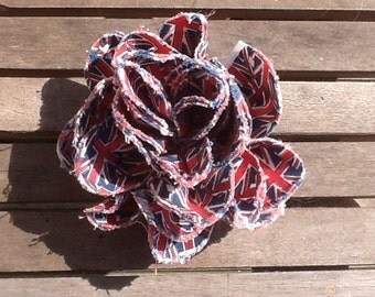 Hand crafted Union Jack fabric 2 in 1 flower hair accessory and brooch UK seller