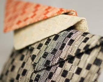 CLEARANCE SALE! Nadine Clutch - Handwoven Raffia Envelope Clutch in Zig Zag Pattern Available in Black or Orange