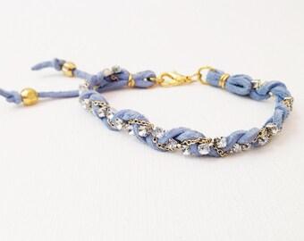 Lavender Leather Braided Rhinestone Boho Friendship Bracelet