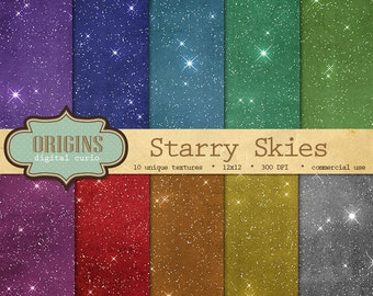 Starry Skies Digital Paper - 10 Pack Premium Printable Scrapbook Paper Pack, Celestial Night Sky Backgrounds