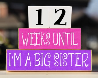 Big Sister Blocks, Wooden Blocks, Countdown Blocks, Pregnancy Countdown, Big Sister Gift, Pregnancy Announcement, Pregnancy Gift, New Baby