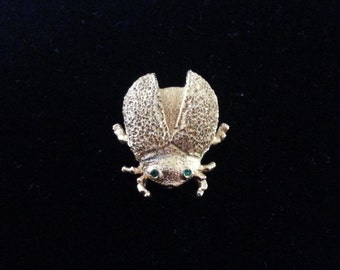Vintage 1960's Gold Tone Beetle Pin, Brooch with Simulated Emerald Eyes