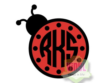 Ladybug monogram, Monogram sticker, Monogram decal, Vinyl decal, Lady bug monogram, Lady bug decal, Ladybug decal, multiple sizes