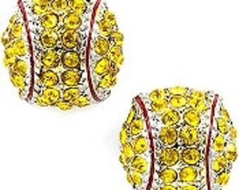 YELLOW Fastpitch Softball or Baseball Rhinestone Stud Earrings
