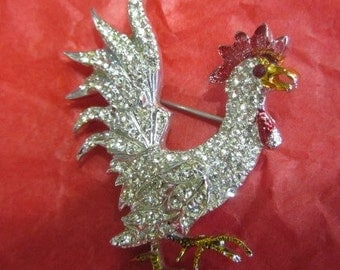 Rare Vintage Coro Craft Silver Tone Paved Rhinestone Rooster Brooch
