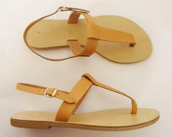 HANDMADE genuine leather sandals, T-stripe sandals, women summer sandals