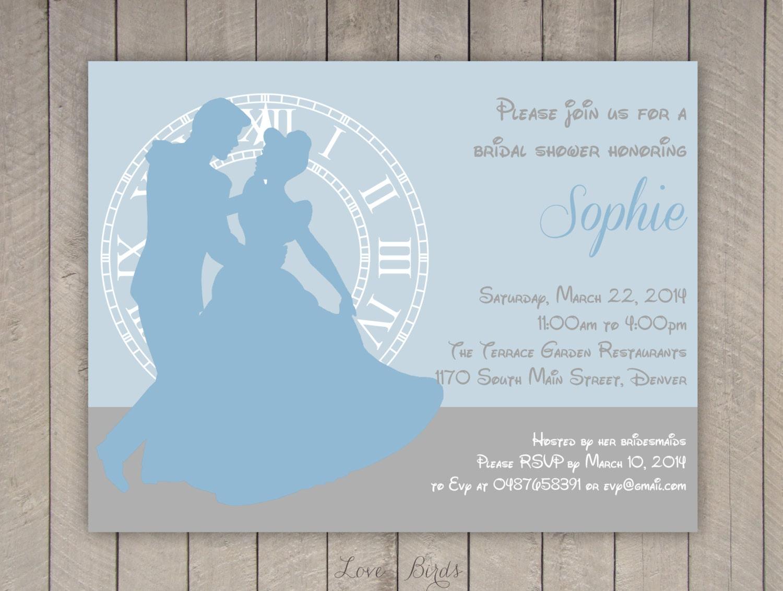 Bridal shower invitation cinderella digital file for Themed bridal shower invitations