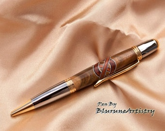 Custom Handcrafted Pen - Twist Pen - Celtic Knot Design / Black Titanium and 24k Gold FInish - #067