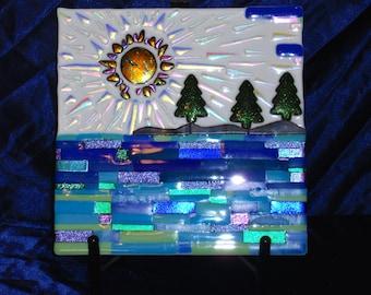 "Dichroic Fused Glass Art Panel, 12"" x 12"". Landscape of Lake Sunset"